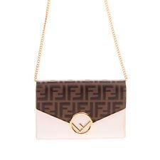 RRP €1110 FENDI Leather Crossbody Clutch Bag FF Logo Chain Strap Magnetic Flap
