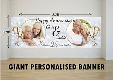 Personalised GIANT Large 25th Silver Wedding Anniversary Poster Banner N27