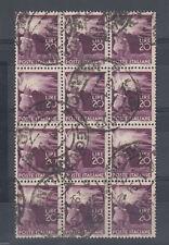 1945-48 DEMOCRATICA 20 LIRE BLOCCO DA 12 USATO SPL