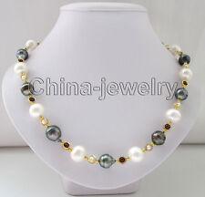 "19.5"" 15mm black baroque Tahiti south sea water pearl & 13mm FW pearl necklace"