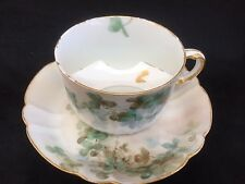 HAVILAND LIMOGE H&C  MUSTACHE CUP AND SAUCER GREEN FLOWERS