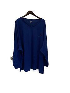 NWT Polo Ralph Lauren Blue 100% Cotton V-neck LS T-shirt 5XB