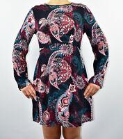 Warehouse Paisley Skater Dress Black Casual Long Sleeve Jersey Autumn Size 12 AR