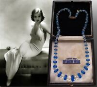 VINTAGE ART DECO BLUE CLEAR CRYSTAL RONDELLE BEADS NECKLACE BRIDAL STUNNING GIFT