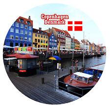 COPENHAGEN, DENMARK -  SOUVENIR NOVELTY ROUND FRIDGE MAGNET - GIFTS / SIGHTS NEW