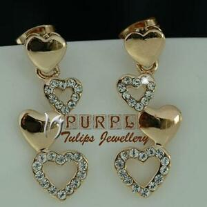 18CTRoseGold Plated Rainbow Hearts Dangle Stud Earrings MadeWithSwarovskiCrystal