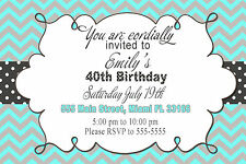 30 Chevron Invitation Cards Turquoise Grey Adult Birthday Party 40th Any Age A1