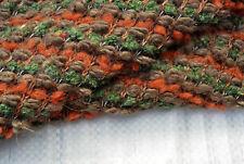 D261 LUXURY CHUNKY BOUCLE KNIT WOOL MULTI COLOUR GREEN - ORANGE- HAZEL MID TONES