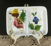 Italy hand-painted Plate, Floral Pattern, Divided Dish, Ceramic Italy Trinket