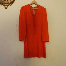 NEW Maje Womens Size M 3  US 8 Satin Mini Shift Red Dress Tie V neck bell ls nwt