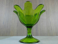 Viking Glass Epic Green footed dish or compote 8 petal flared top mid century