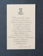 Menu 15 juin 1893 Comte CORNET DE BONVOULOIR LE GONIDEC DE GROLLIER noblesse