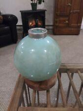 Vintage aqua green with brown swirl glass lightning rod ball
