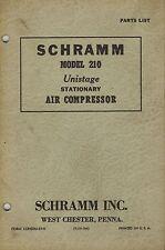 Schramm Vintage 210 Unistage Air Compressor Parts Manual 1952