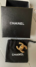 Rare Chanel Brooch Badge Logo CC %100 Authentic With Box And Dustbag
