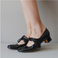 Women Mary Jane Shoes Patent Leather Chunky Heel Round Toe Lace Up Casual Pumps