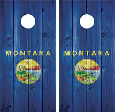 Montana State Flag Distressed Wood Vintage Cornhole Board Decal Wrap Wraps