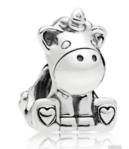 silver unicorn charm bracelet bangle gift heart Bead charms magical mythical UK