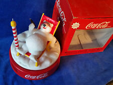 1995 Coca-Cola Polar Bear Rotating Musical Alarm Clock coke