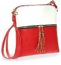 Tassel Accented White and Red Crossbody Sling Single Carry Strap