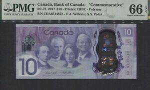 TT PK BC-75 2017 CANADA BANK OF CANADA 10 DOLLARS PMG 66 EPQ GEM UNCIRCULATED!