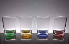 QG 16 oz Clear w/ Color Base Acrylic Plastic Cup Drinking Glass Tumbler Set of 4
