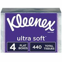 4 Flat Boxes Kleenex Ultra Soft Facial Tissues 440 Ply Tissues Total