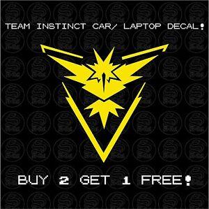 √ 1x Pokemon Go Team Instinct Zapdos Logo Styled Car Laptop Decal Sticker √