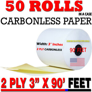"""2 PLY CARBONLESS RECEIPT ROLLS 3"""" X 90' 2-PLY WHITE/CANARY KITCHEN PRINTER PAPER"""