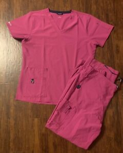NWOT Carhartt Force Cross Flex Womens Scrubs Style C12110 Pink Size Small L