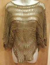 NWT $54, Arden B Sweater Brown Crochet Open Knit Short Sleeve X-Small