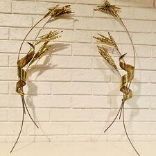PAIR Mid Century 3D Wall Art Copper & Brass Metal Sculpture Wheat Stalks Retro
