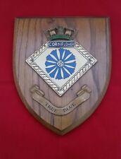 HMS CORNFLOWER ROYAL NAVY SHIP Oak Plaque Vintage Wall Shield Hand Painted Crest