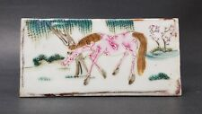Antique Chinese Porcelain Plaque Hand Painted Walking Horse