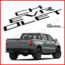 Gloss Black Raised Tailgate Letters for 2020 Chevrolet Silverado 2500 3500