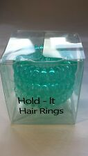 Hold It Hair Rings 4cm Spiral Stretchy Bobbles Hair Bands 3x4cm Green