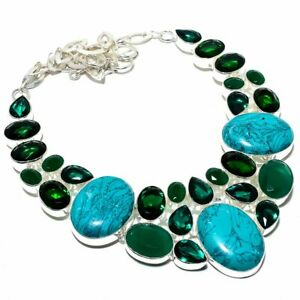 """Santa Rosa Turquoise & Emerald 925 Sterling Silver Jewelry Necklace 16-18"""" S2698"""