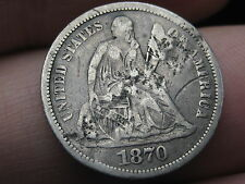 1870 Seated Liberty Silver Dime- Fine/VF Details, Counterstamped