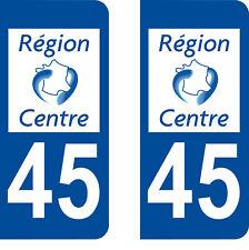 Département 45 sticker 2 autocollants style immatriculation AUTO PLAQUE Centre