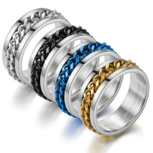 Stainless Steel Women Men Rotating Chain Rings Couple Ring Wedding Size 6-13