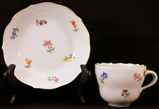 MEISSEN Porcelain Handpainted Scattered Flowers Demitasse Cup & Saucer #1