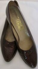 Salvatore Ferragamo Brown Leather Pumps 8 AA Croc Insets Italy