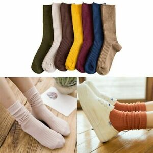 Women Cotton Socks High Crew Loose Soft Knitting Rib Solid Colors Knit Needles 1