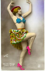 Young woman cabaret dancer bra Moulin Rouge hand tinted vintage Walery 1920's
