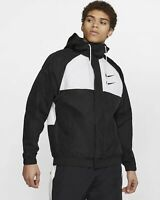 Nike Swoosh Woven Hooded Jacket (Men's Size M) Full Zip Windbreaker Coat Black