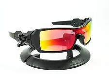 OAKLEY OIL RIG MATTE BLACK FRAME / REVANT MIDNIGHT SUN RUBY RED POLARIZED LENSES