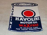 """VINTAGE """"HAVOLINE QUART MOTOR OIL CAN"""" 11"""" PORCELAIN METAL TEXACO GASOLINE SIGN!"""