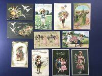 11 Children's BIRTHDAY Antique Postcards 1900s. Made in Germany. UNPOSTED. NICE