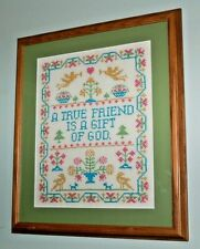 Framed matted w glass Embroidery Cross Stitch Needle Point - colorful Friend