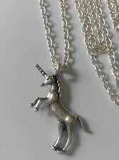 "A Unicorn Horse (30*33mm) Tibetan Silver Charm Pendant, Long 30"" Chain Necklace"